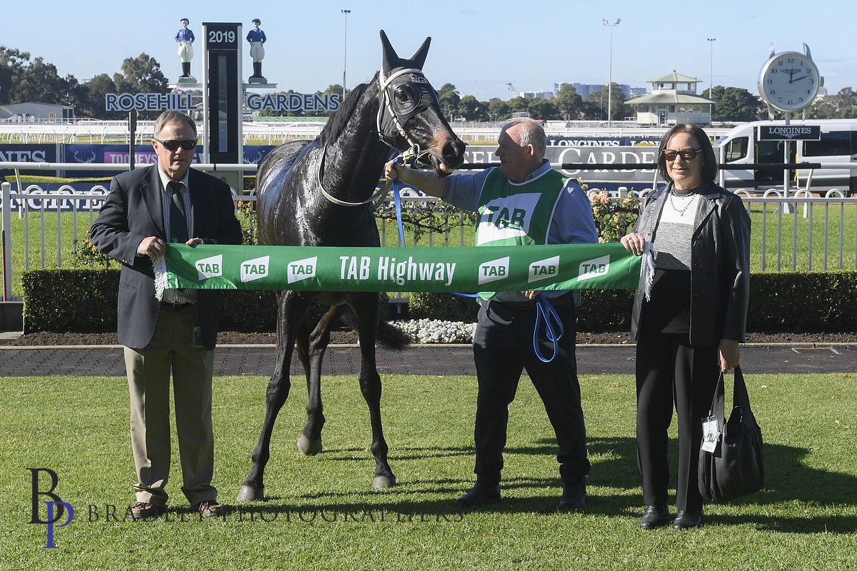 Image courtesy Bradley Photographers - Norm and Diane with the winner's sash at Rosehill Gardens.