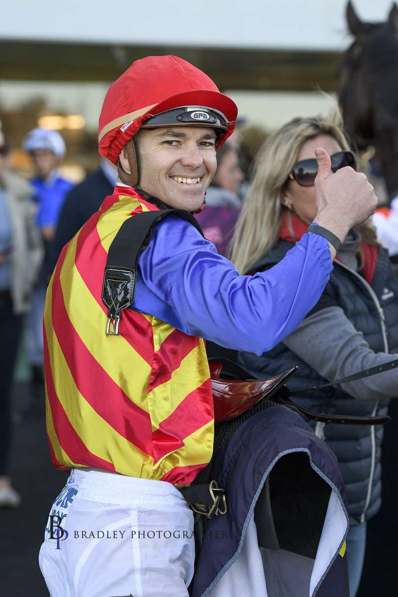 Image courtesy Bradley Photographers - Keagan was all smiles after winning on Eleven Eleven for Greg Hickman Kembla 11/07/2019.