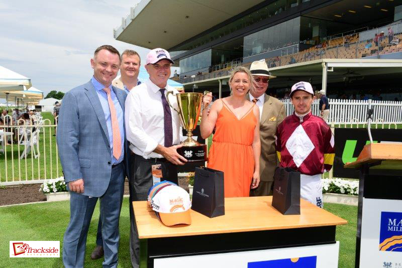 Image courtesy Trackside Photography - Lee, Cherie, Frank Cook and Christian Reith after Meryl's win in the Bruce McLachlan at Doomben 30/12/2017.