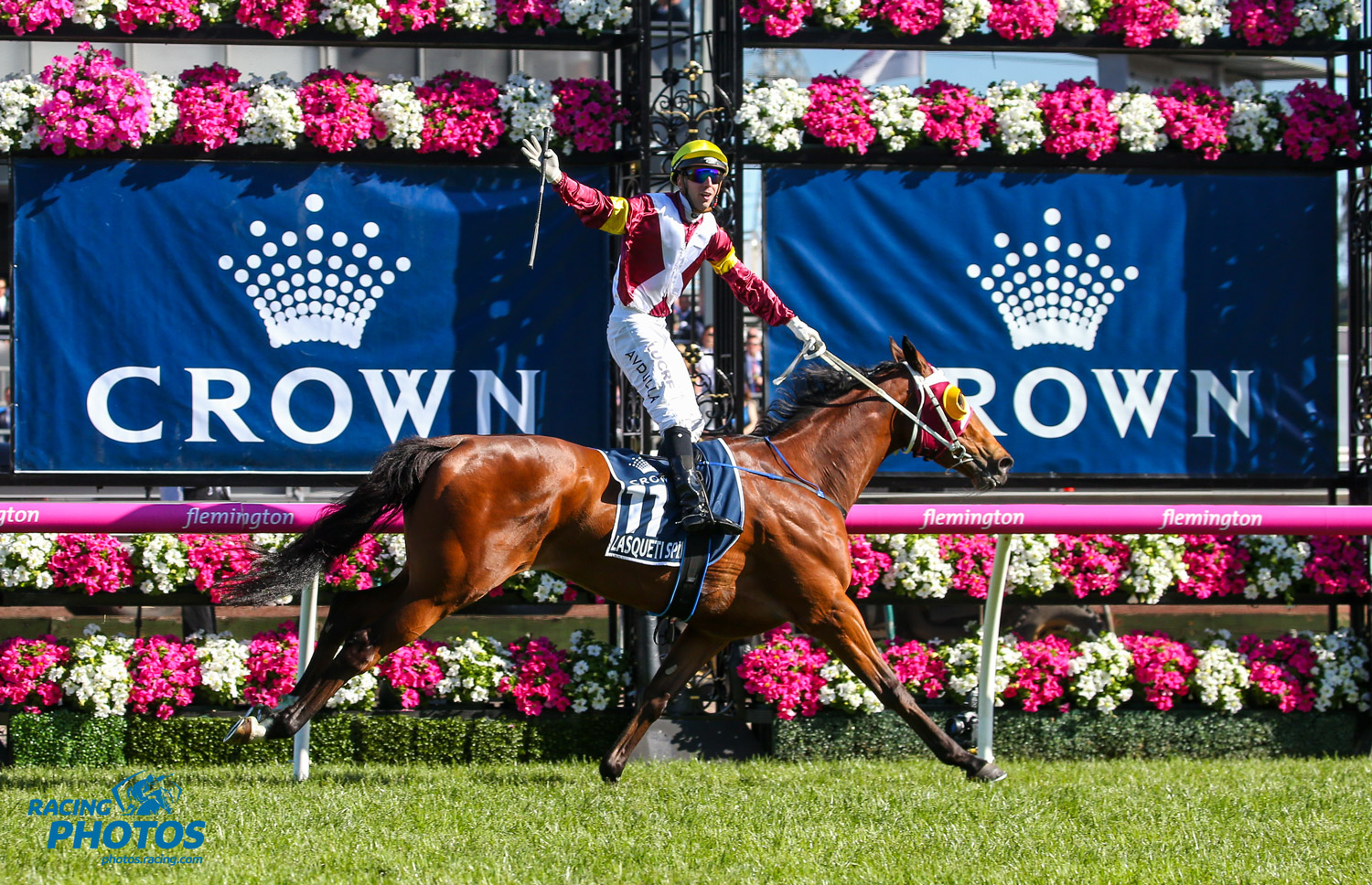 Image courtesy Racing Photos - The stewards took a dim view of Brenton Avdulla's antics as Lasqueti Spirit won the Crown Oaks.