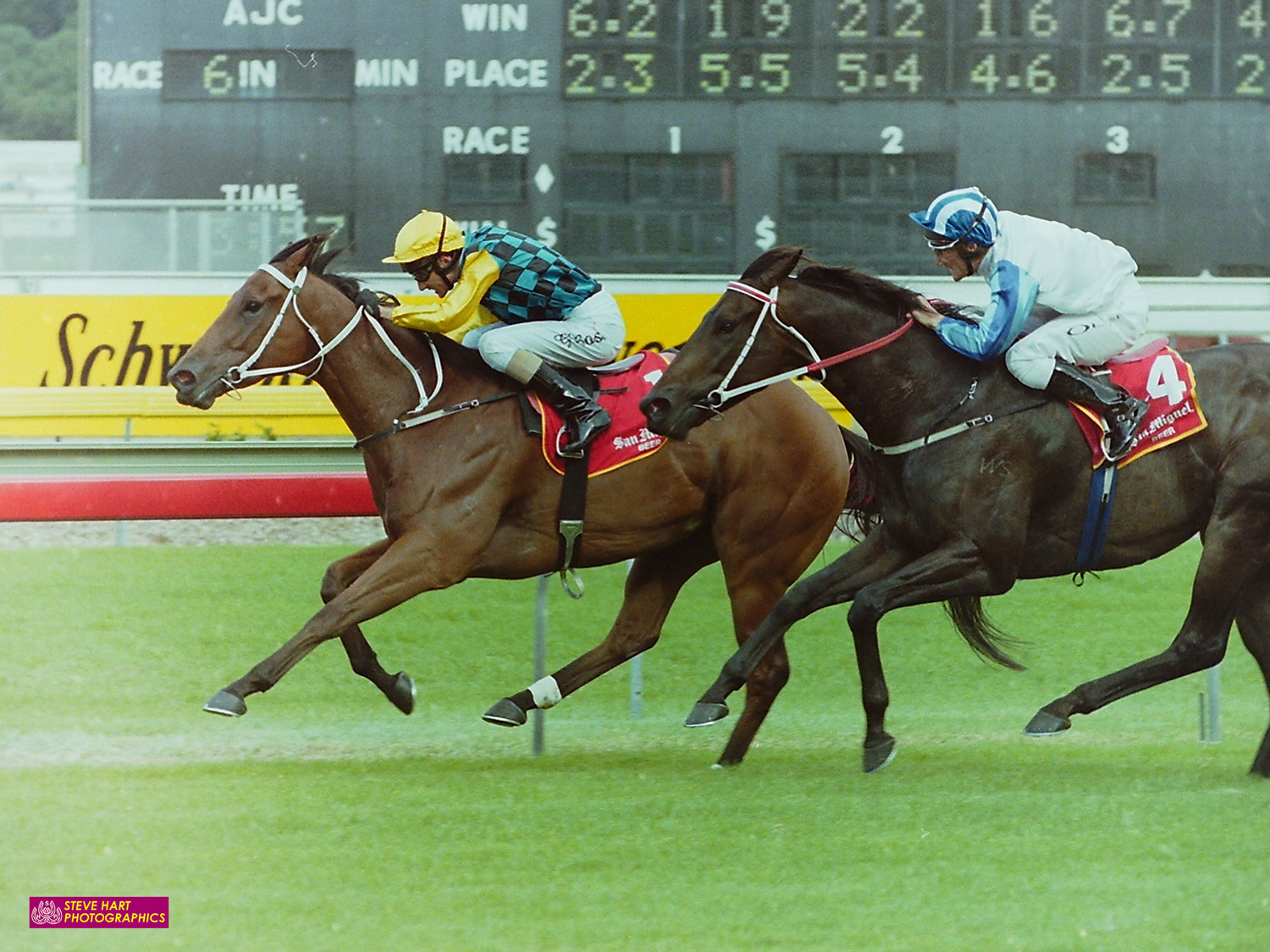 Image courtesy Steve Hart Photographics - Mistegic comes off brilliant Melbourne form to win The Galaxy 2002 from Century Kid.