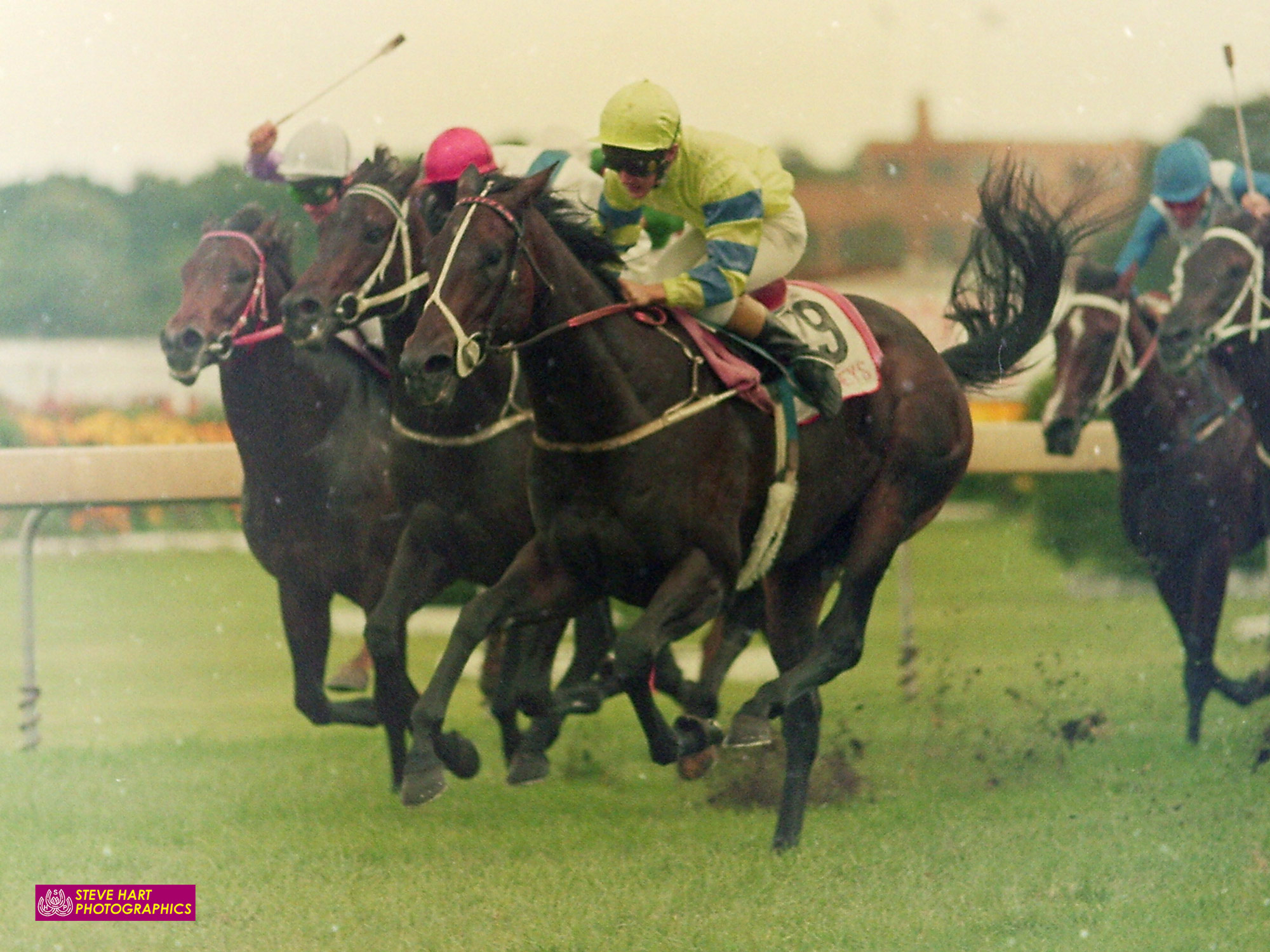 Image courtesy Steve Hart Photographics - The Ross McDonald trained Courtza storms home to give Shane Dye the first of his four Golden Slipper wins 1989.