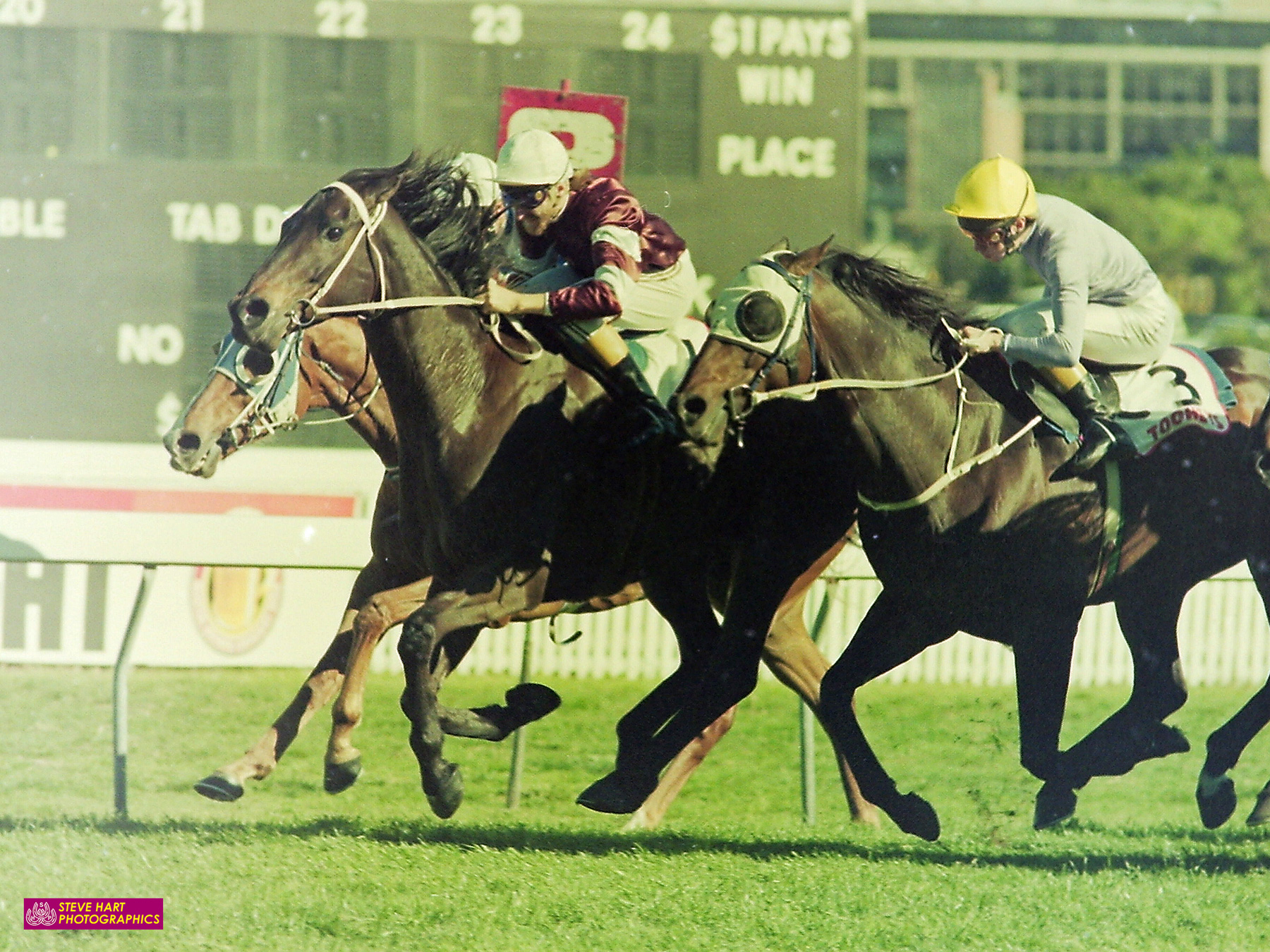 Image courtesy Steve Hart Photographics - Vo Rogue's only Sydney win in 8 attempts - the 1989 George Main Stakes defeating Groucho (Shane Dye) with Don't Play third.