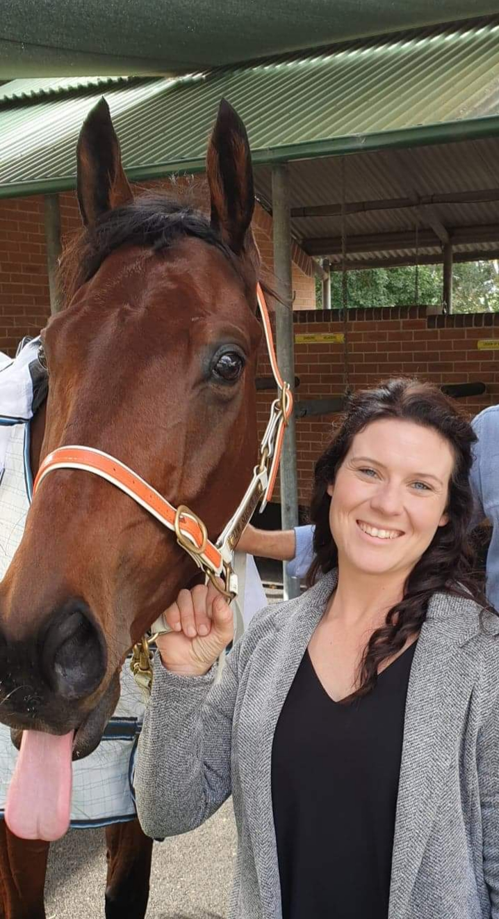 "Danielle with ""TAG"" after a third placing at his first TAB Highway start."