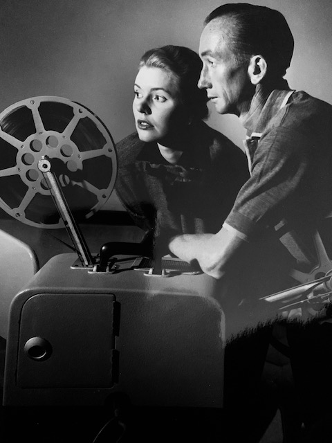 Image courtesy Ern McQuillan - George and Iris Moore watching race replays at home in the 1950s.