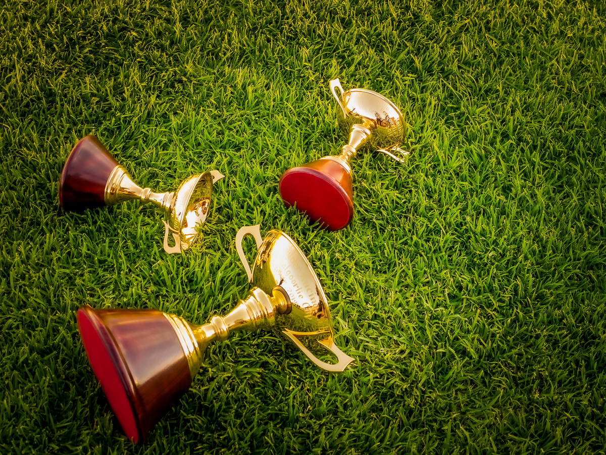 Image courtesy Lyn Webb - They're still finding gold on the ground at Kalgoorlie - owner, trainer and jockeys' trophies for Saturday's Cup.