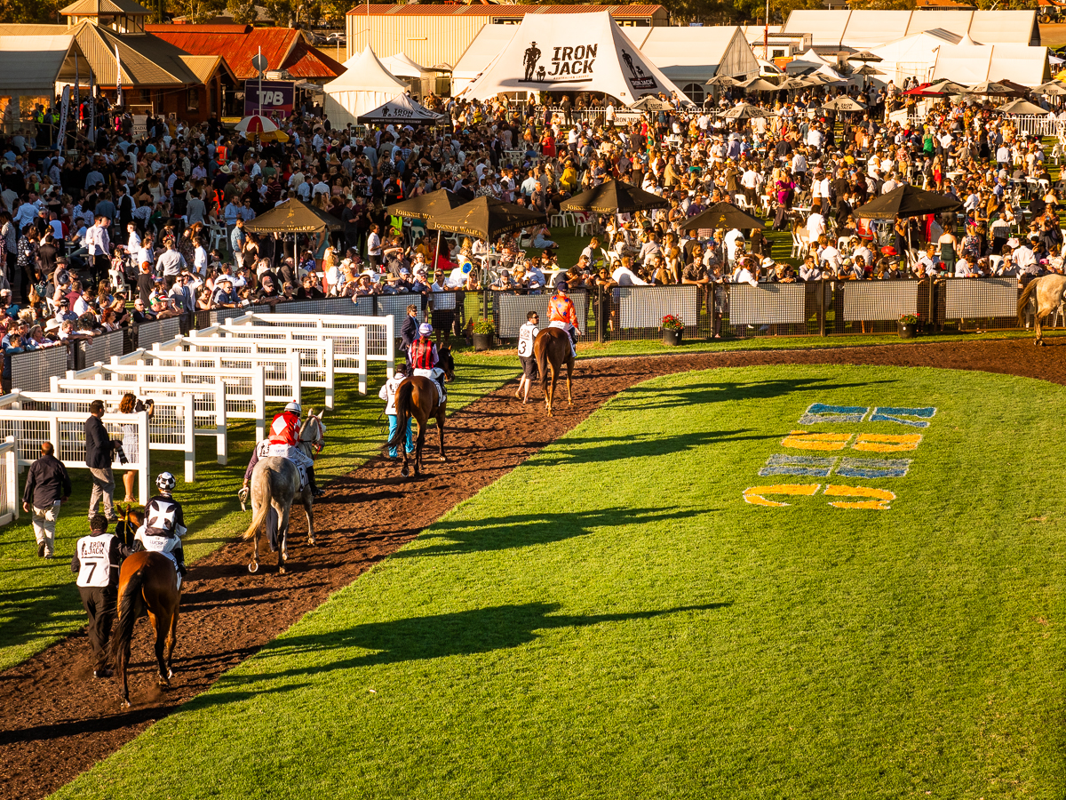 Image courtesy of Lyn Webb - A huge crowd converged on the mounting yard to watch the Kalgoorlie Cup runners parade.
