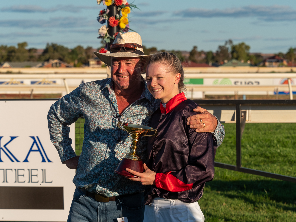 Image courtesy Lyn Webb - A family affair. Trainer Justin Warwick and his daughter Lucy who rode the Cup winner.