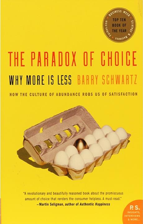 The paradox of choice - Più opzioni abbiamo, più non sappiamo quale scegliere e più tempo passiamo nel passaggio tra un'opzione all'altra.