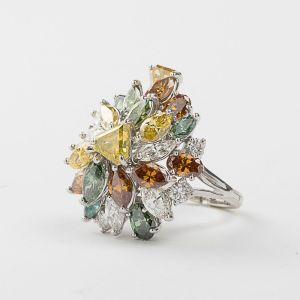 A 14kt. White Gold and Multi-Colored Diamond Ring sold for $12,000