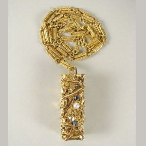 An 18kt. Gold, Diamond and Pearl Compression Pendant by César Baldaccini aka CESAR sold for $11,000