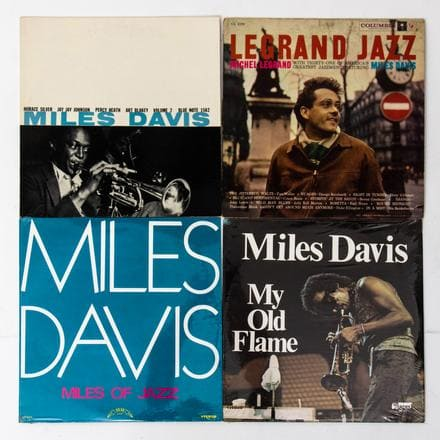 GROUP OF FOUR MILES DAVIS VINYL LPS   A Group of Four Miles Davis Vinyl LPs from Various Labels, 20th Century, Including: 'Volume 2, Miles Davis' (Blue Note 1502); 'Legrand Jazz, Michel Legrand, featuring Miles Davis' (Columbia CL 1250); 'Miles of Jazz, Miles Davis' (Trip Jazz TLP-5015); 'My Old Flame, Miles Davis' (Up Front UPF-171).   Est. $80 - $120
