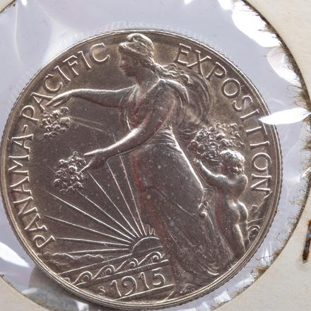 1915-S PANAMA PACIFIC EXPOSITION COIN   A 1915-S Panama Pacific Exposition Silver Half Dollar, Circulated/Clean.   Est. $100 - $200