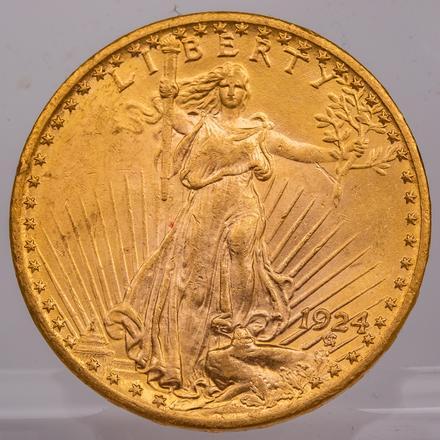 1924 $20.00 ST. GAUDEN'S GOLD COIN   A 1924 $20 St. Gaudens Gold Coin, Circulated.   Est: $1,500 - $1,700