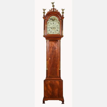 SIMON WILLARD MAHOGANY TALL CASE CLOCK   An American Mahogany Tall Case Clock by Simon Willard, Late 18th Century,   Estimate: $8,000 - $10,000