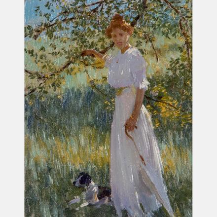 EDWARD DUFNER, (AMERICAN, 1871-1957) - SUNLIT PORTRAIT   Edward Dufner, (American, 1871-1957) - Sunlit Portrait, oil on board.   Estimate: $2,000 - $4,000