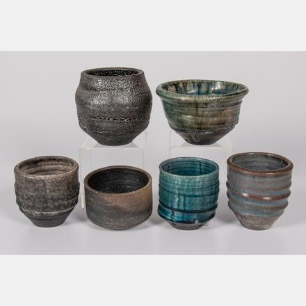 GEORGE ROBY, (AMERICAN, 1936-2017) - SIX BOWLS AND CUPS  Estimate: $150 - $250