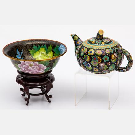 CHINESE CLOISONNÉ TEAPOT AND BOWL  Estimate: $200 - $400