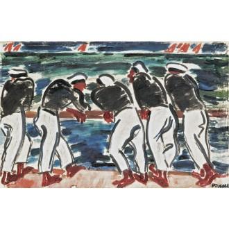 János Vaszary, Sailors by the Sea, Sold for $49,000