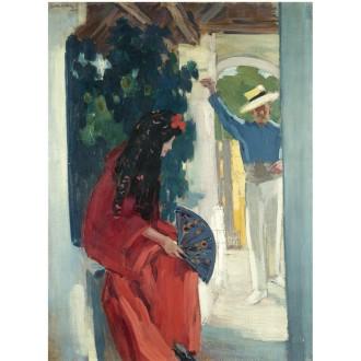 János Vaszary, Mid-Day Rest (Couple from Seville), Sold for $115,000