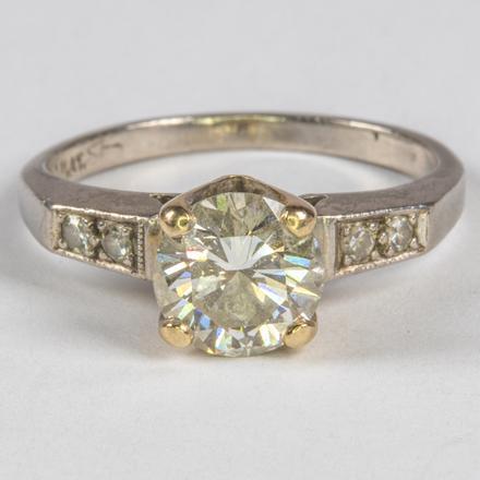 PLATINUM AND DIAMOND RING.  Estimate:  $1,800 - $2,000.    View Lot >
