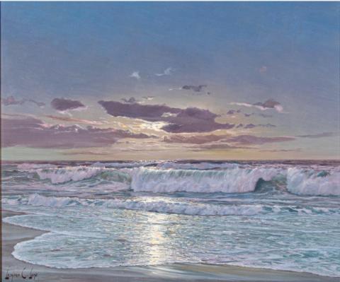 LEONARD C. LANE, (CANADIAN, 1910-1978) - MOONLIT BEACH SCENE.  Estimate: $1,500 - $2,500. Lot #81.  View Lot >