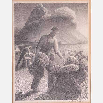 GRANT WOOD, (AMERICAN, 1892-1942) - APPROACHING STORM.  Estimate: $2,000 - $4,000. Lot #102.  View Lot >