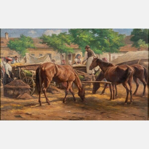 FERENC ROSENMAYER, (HUNGARIAN, 1864-1912) - MARKET SCENE WITH HORSES AND FIGURES .  Estimate:  $2,000  -  $4,000 .  Lot#56A      View Lot >