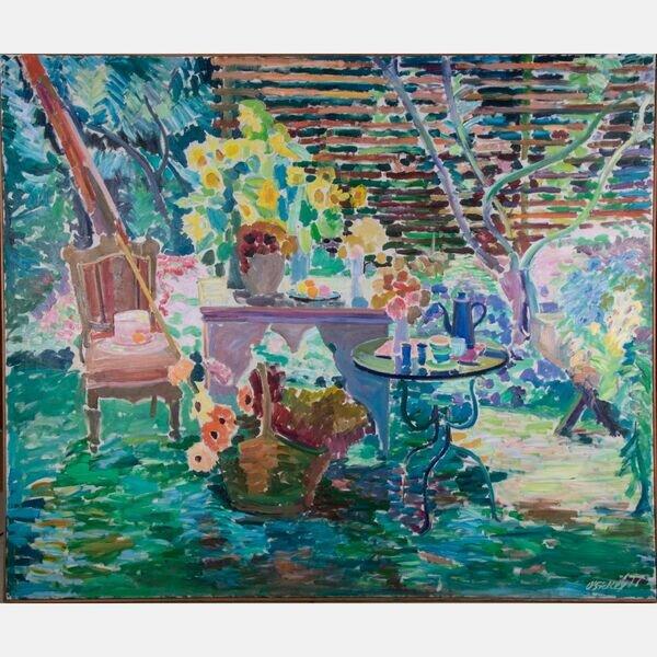 JOSEPH B. O'SICKEY, (AMERICAN, 1918-2013) - GARDEN VARIATIONS-TRELLIS, SUNFLOWERS, VICTORIAN CHAIR, 1977 .  Estimate:  $3,000  -  $5,000 .  Lot#13      View Lot >