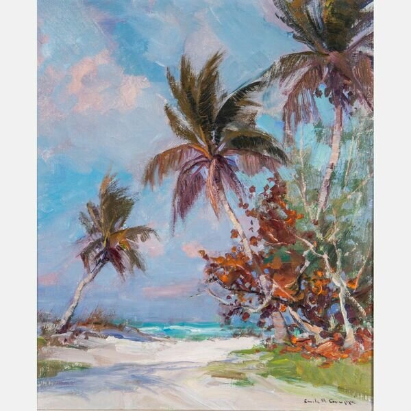 EMILE GRUPPE, (AMERICAN, 1896-1978) - BEACH SCENE .  Oil on canvas Beach Scene by Emile Gruppe (American, 1896-1978), artist signed lower right.  Estimate:  $2,200  -  $3,200 .  Lot#14      View Lot >