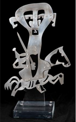 CHARLES LAPIQUE, (FRENCH, 1898-1988) - LE CAVALIER, 2007 .  Aluminum and clear acrylic sculpture by Charles Lapique (French, 1898-1988) in the auction, titled Le Cavalier (2007), signed lower right on the base and from a limited edition of 8.  Estimate:  $2,000  -  $4,000 .  Lot#82      View Lot >