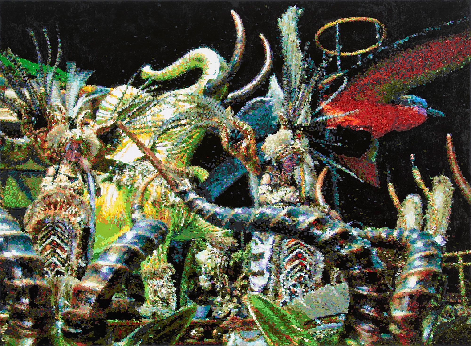 Roemer and Roemer,  Exotische Wesen in Rio de Janeiro,  2012, Öl auf Leinwand, 110x150 cm