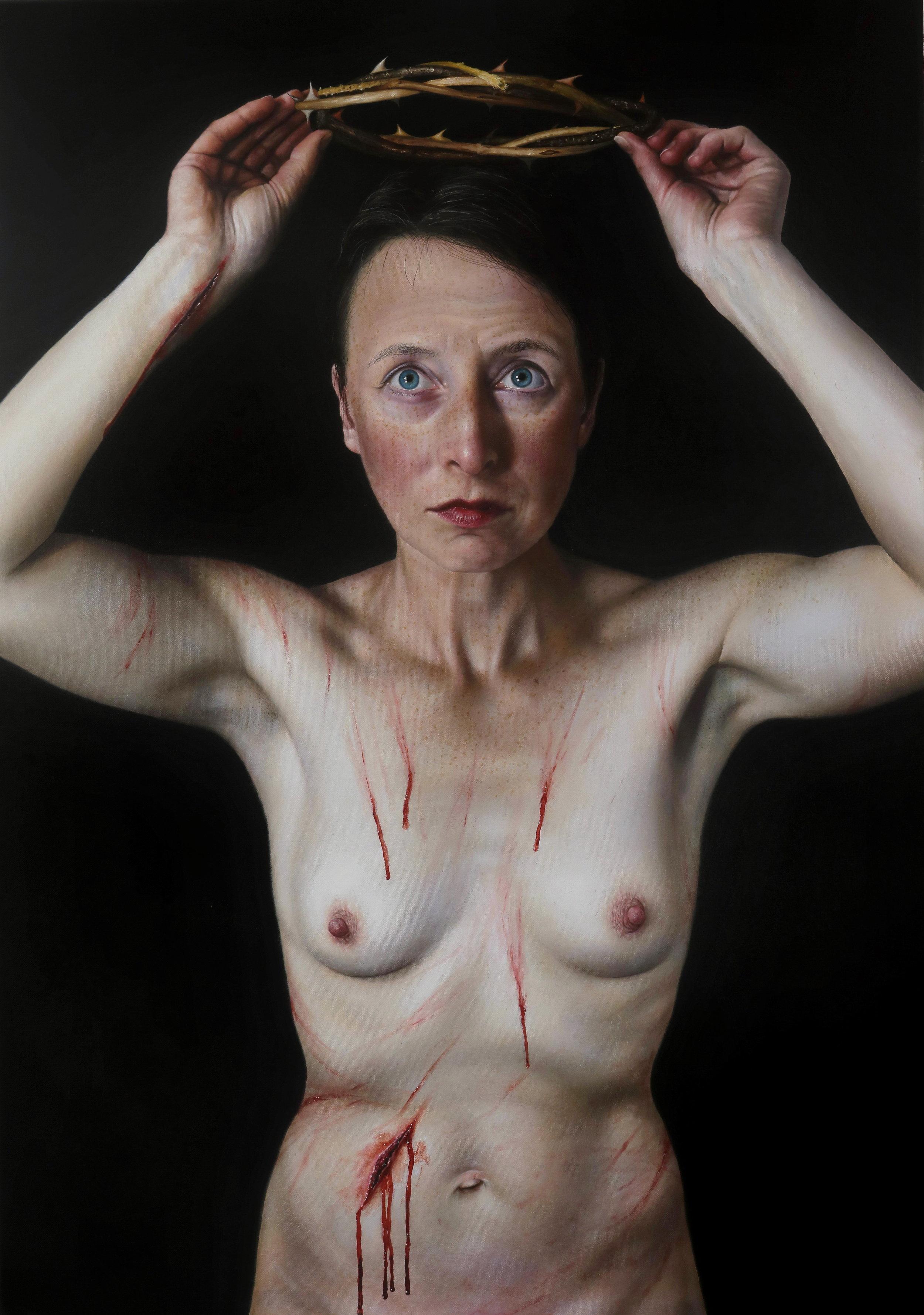 René Schoemakers,  Schmerz, (2017)  Acryl auf Leinwand, 100 x70