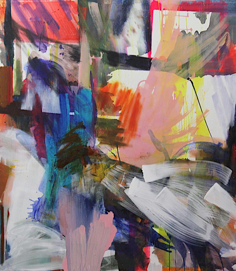 Silke Kästner,  durch Glas springen, 2018, Acrylic on canvas, 175x154cm