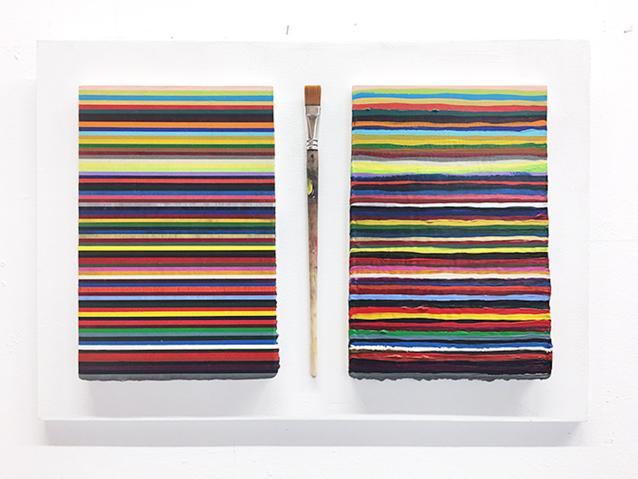 Nina Rodin,  2 Times 72 Layers and a Brush, 2017,  Acrylic on board in Perspex frame; brush,  Each 24x30