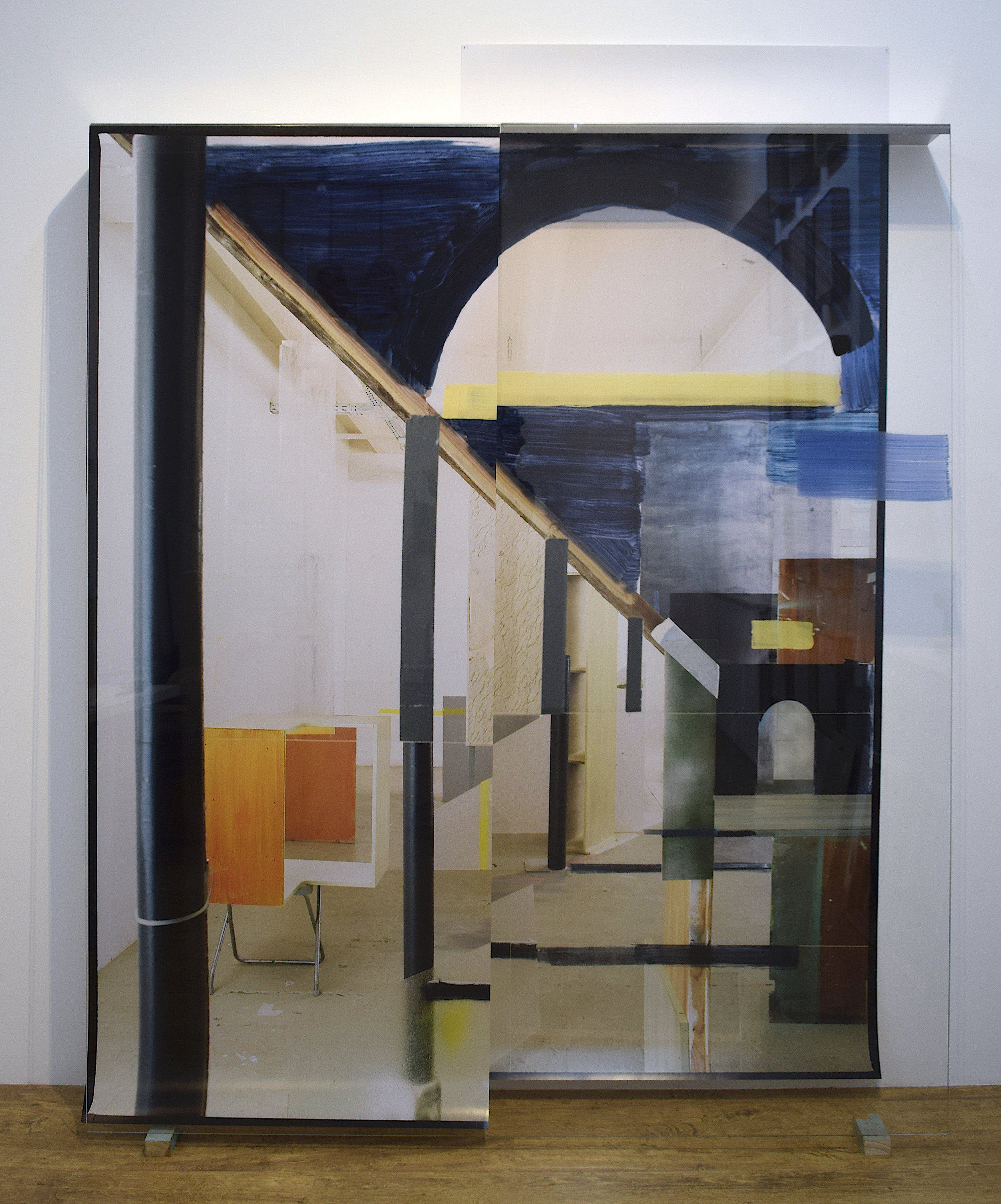 Heike Gallmeier,  Projective Geometry 3 , 2018, C-Print, acrylic paint, glass, aluminium, wood 180 x, 220 x 15 cm
