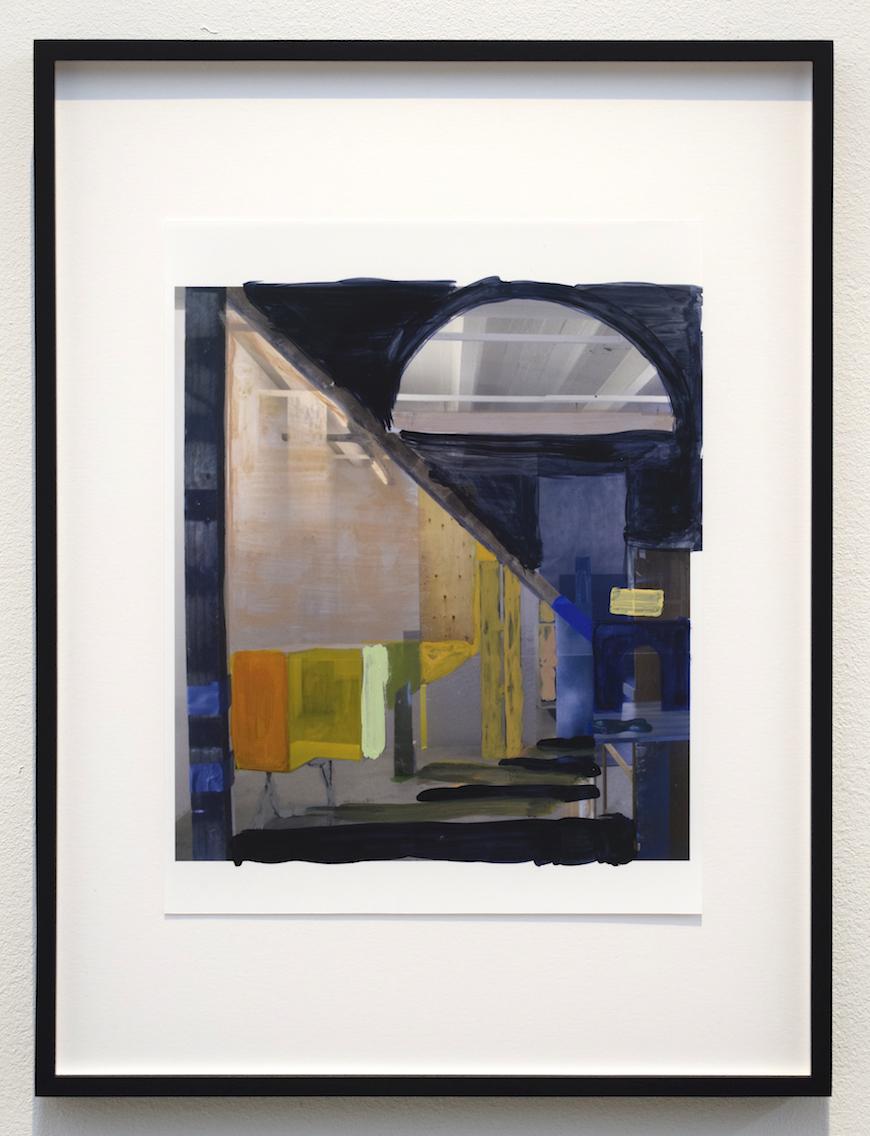 Heike Gallmeier,  Projective Geometry 3 , 2017, Inkjet, print, acrylic paint, 22 x 20 cm (32 x 30 cm)