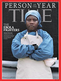 Magazine cover featuring Salome Karwah. Digital image. From Baker A. Liberian Ebola Fighter, a  TIME Person of the Year, Dies in Childbirth. TIME. February 27, 2017 . Accessed May 15, 2017