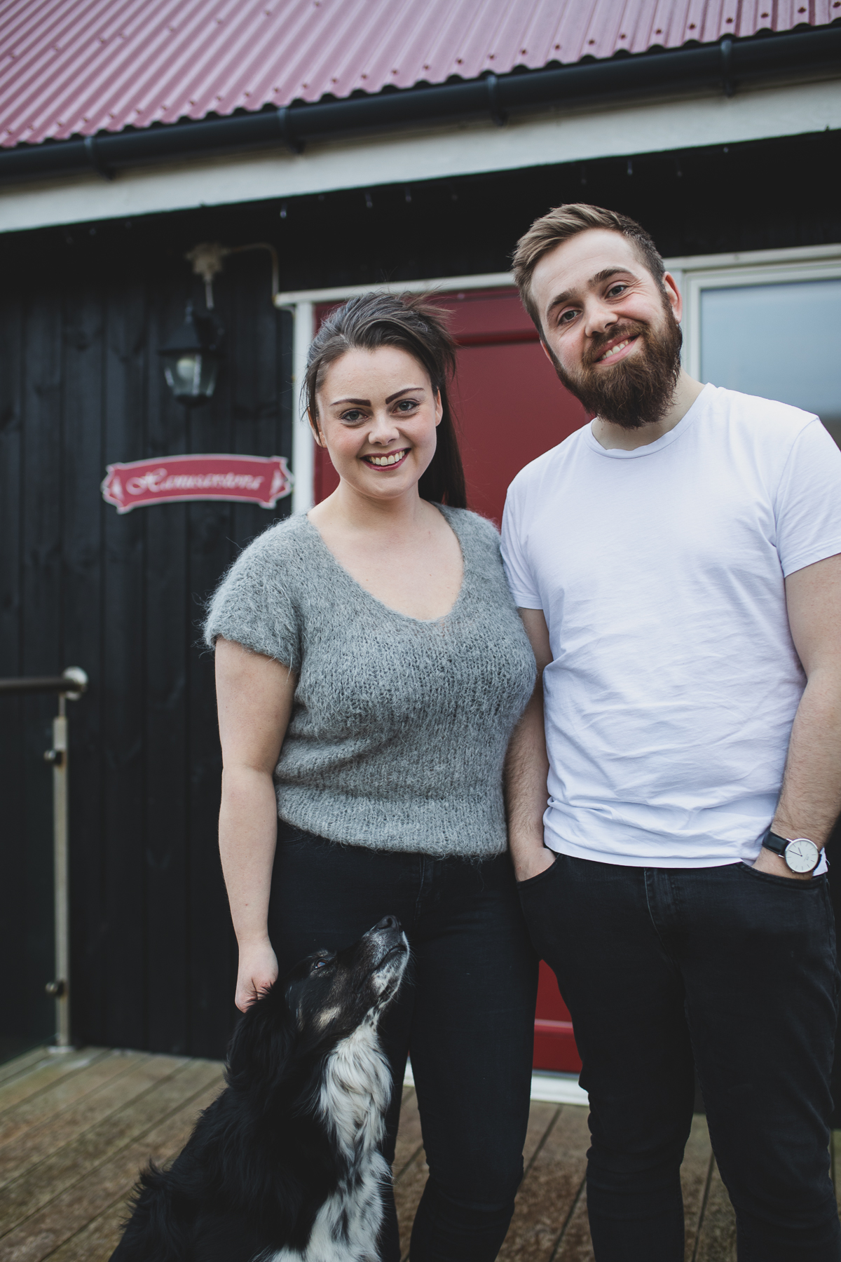 Who are we ? - Hi! We are Harriet and John - aka Mrs. & Mr. Hanusarstova.To us Hanusarstova isn't just the place we work, it is also our home. This is the place our dreams came true, the place we've worked hard to create, the place stories are told, meals are shared, good conversations take place and the place closest to our heart. Little did we know back in 2013 when we decided to buy an old abandoned house in the tiny village of Æðuvík, how much this house would mean to us now 6 years later - but one thing is certain, it's the best decision we've ever made.Harriet it now a 5th generation sheep farmer in the village, taking over the farm after her father. While sheep farming isn't a career in it self, Harriet has managed to turn it into so much more than that. As a photographer Harriet's art work is mostly based on the animals on the farm, especially the sheep, which decorate many homes by now including Hanusarstova.  To Harriet animal welfare is key, she talks to them with her gentle voice and makes sure of their well being every day. John is the handyman, salesperson, fixer, bookkeeper and storyteller. He is very passionate about everything he does, especially building and his braised lamb that he cooks for 10 hours +, and believe me when I say it is probably the best lamb you'll ever have. He will go above and beyond to please everyone and especially when it comes to Harriet's (his wifes) crazy ideas he is eventually always keep for any project - be it an instagram friendly chicken-coop , baby quails, baby lams, herb garden, event or anything else. Together we have worked hard for Hanusarstova and are now ready to share it with you. We invite you to come join us on the farm, dine with us, meet the animals and enjoy the hospitality. We'll tell you stories, answer your questions, show you our world, let you smell some fermented meat and taste The Faroe Islands - to us that is what Heimablídni is all about.