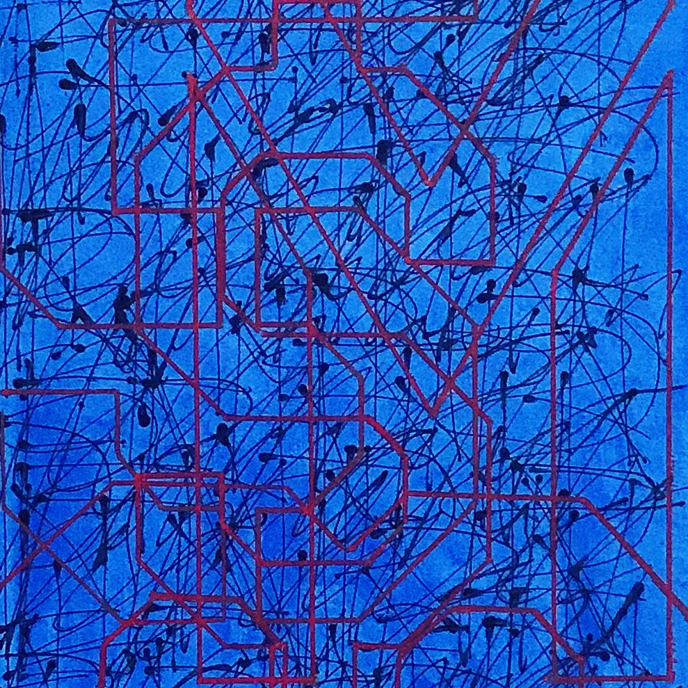 """Black+Blue'' oil on paper 18'' X 18''"