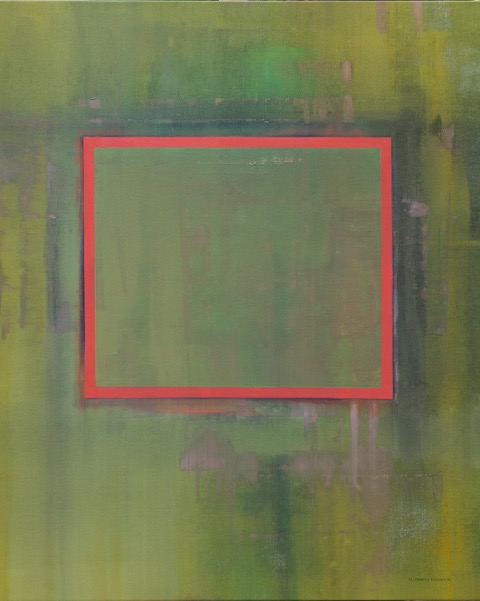 """""""Green with Orange Square'' oil on canvas 33'' X 40''"""