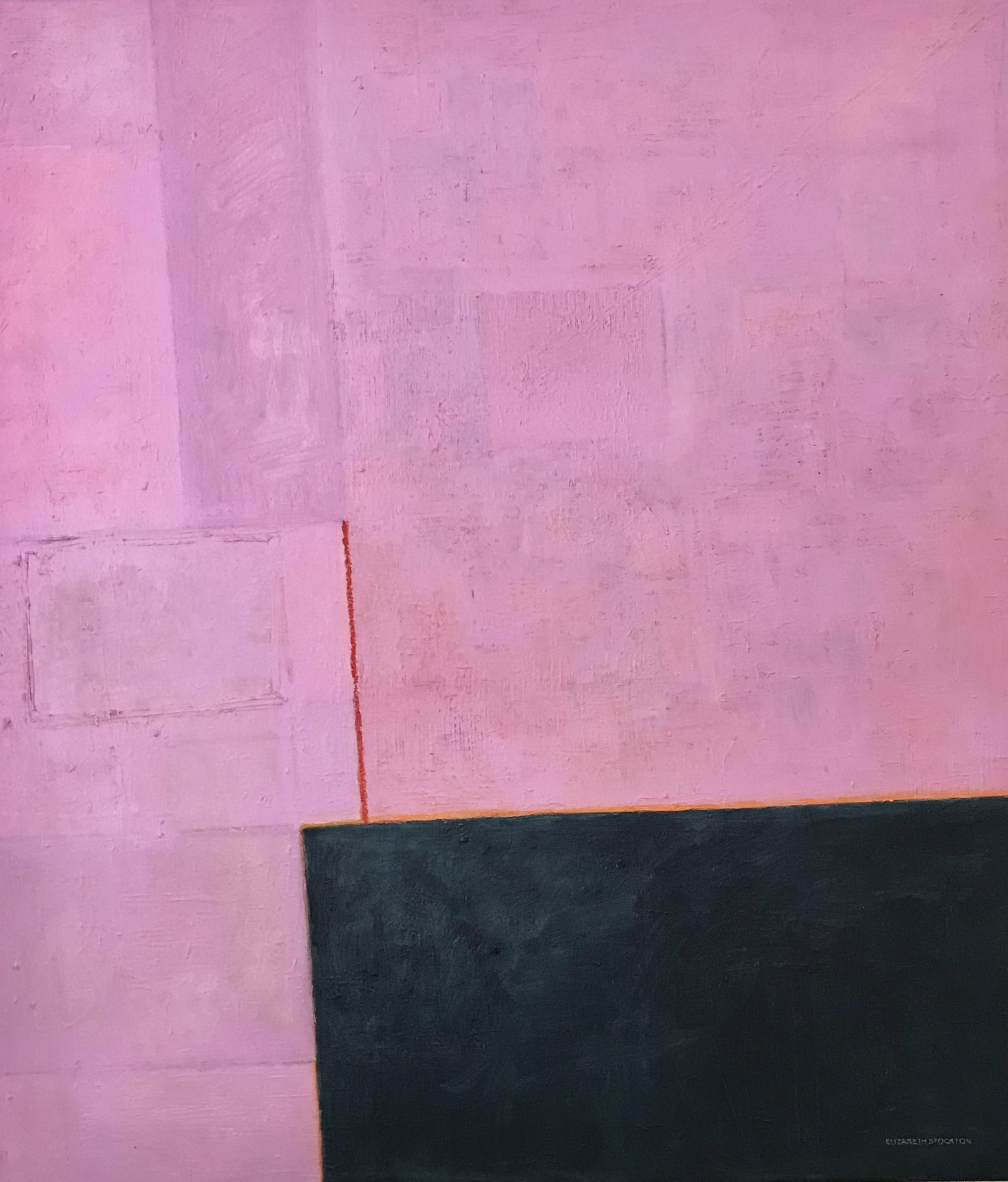 """""""Pink + Indigo with Red Line'' oil on canvas 40'' X 46''"""