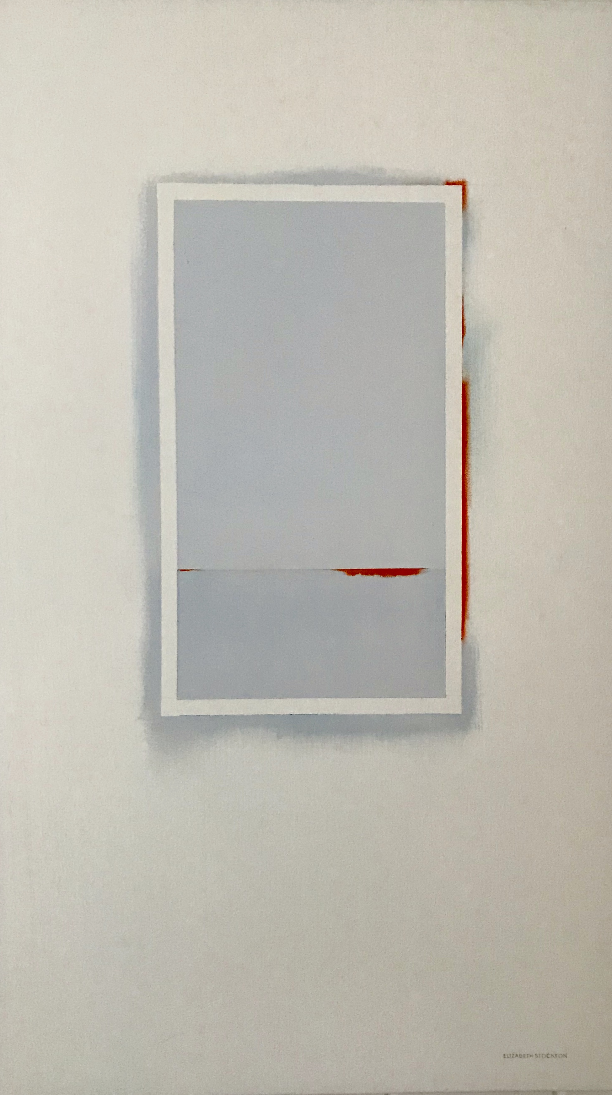 """""""Pale Blue with Orange'' oil on canvas 26'' X 45''"""