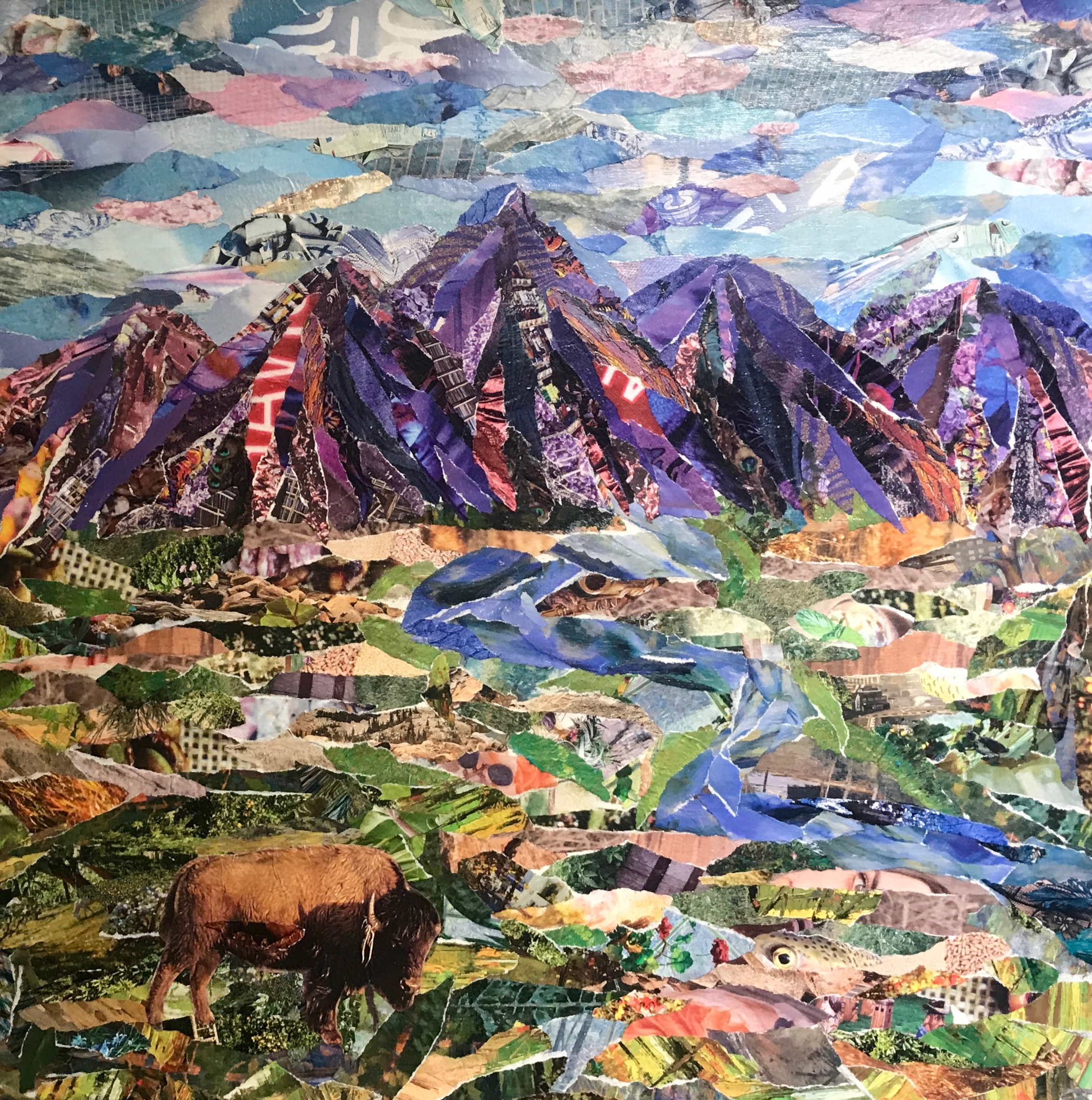 """'Lone Bison' Collage on Canvas 18"""" x 18"""""""