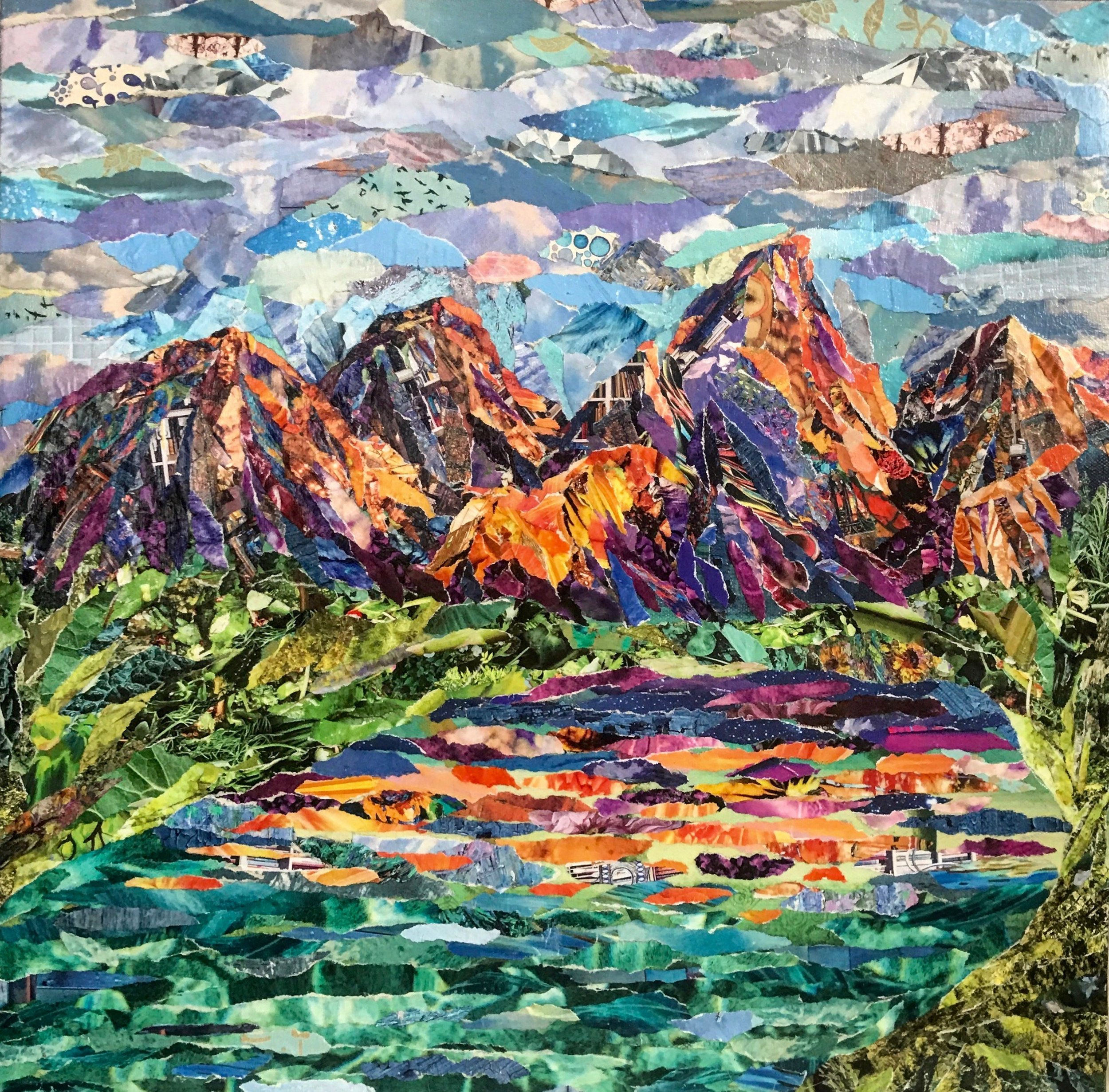 """'Orange and Purple Tetons' Collage on Recycled Board 15"""" x 15"""""""