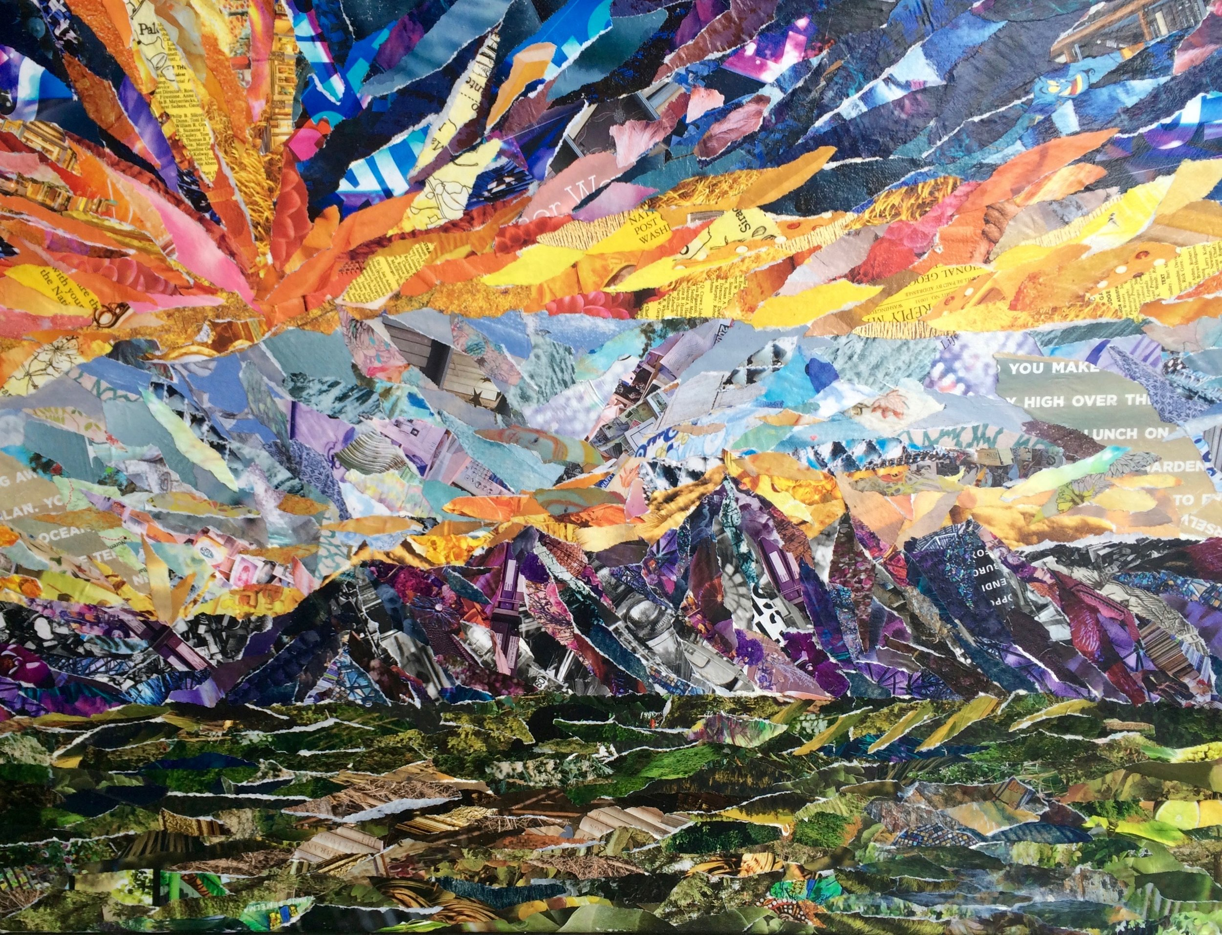 """'Sunset at Curtis' Collage on Canvas 24"""" x 18"""""""