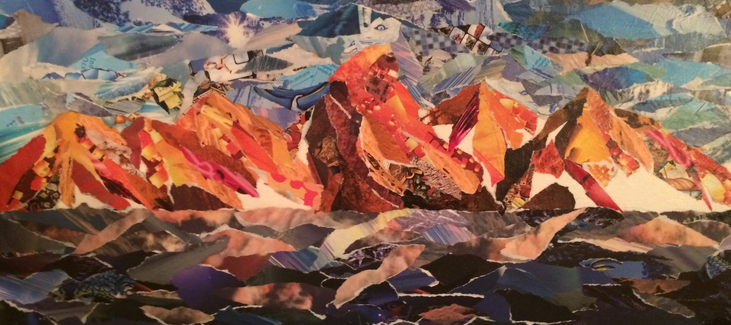 """'Plane View' Collage on Canvas 20"""" x 10"""""""