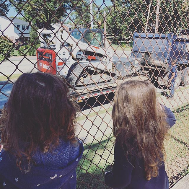 We love that our playground is a community park. We get to observe, question and make predictions about real life situations. Add construction vehicles and we are upset excited! #letthemplay #myworkisplay #creativeclubhouse #explore