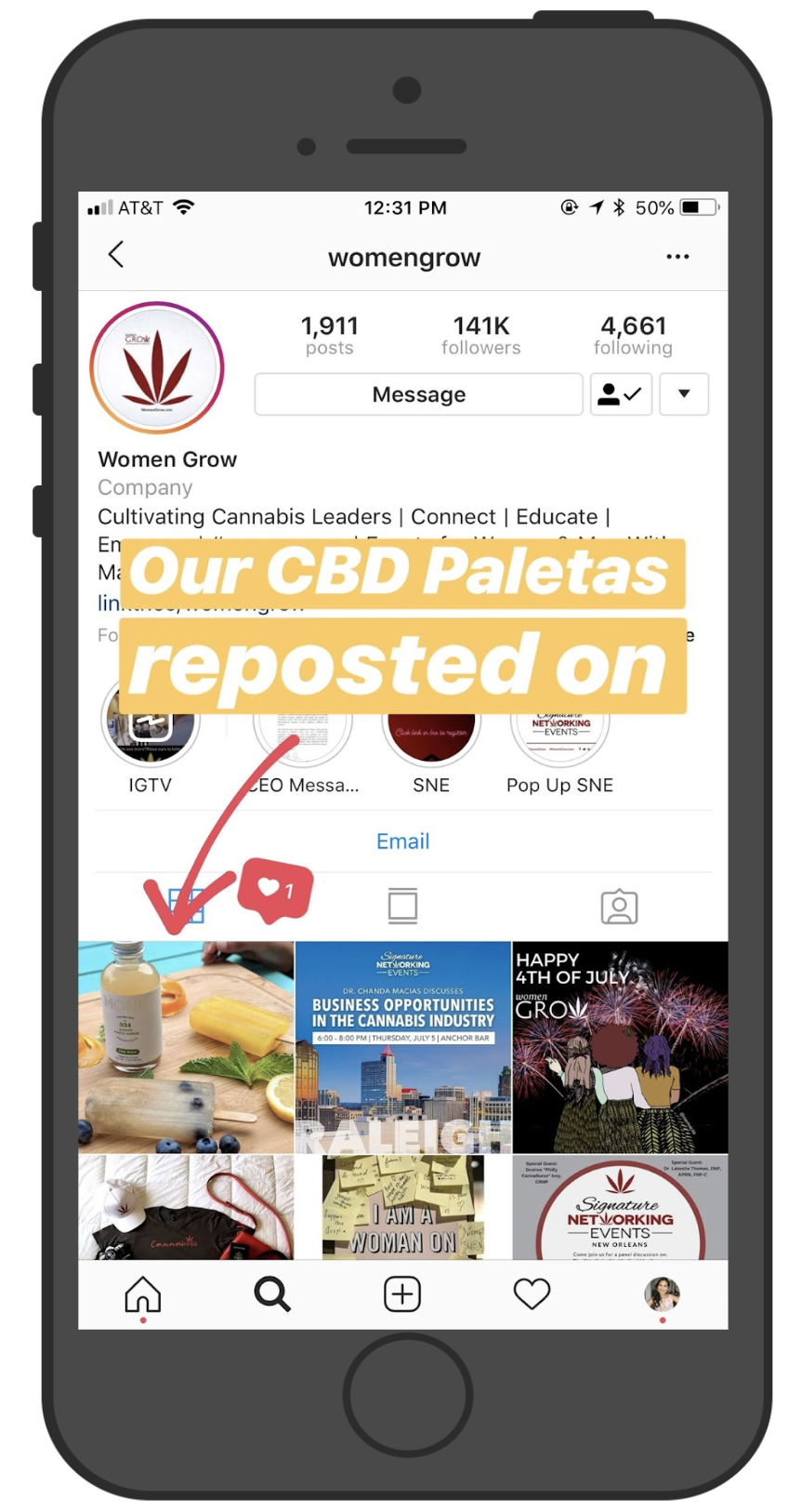 One of our first reposts! Our CBD Paleta's made it to Women Grow's 141K Instagram audience!
