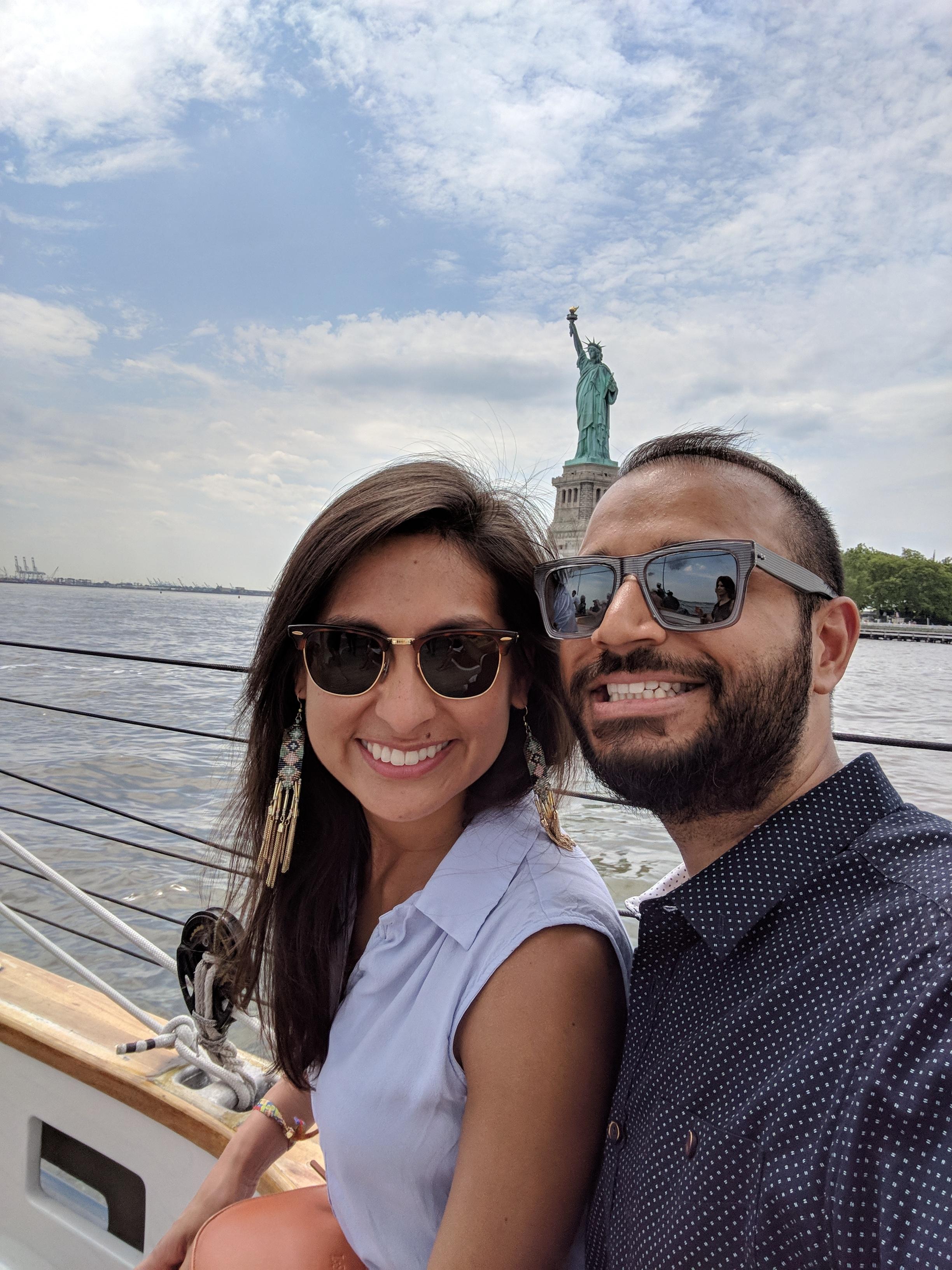 Cyn and Mik at Statue of Liberty